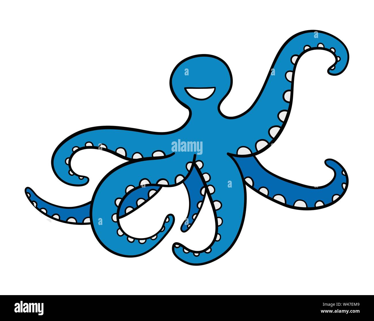 Vector hand-drawn illustration of blue octopus. Black outlines and colored. - Stock Image