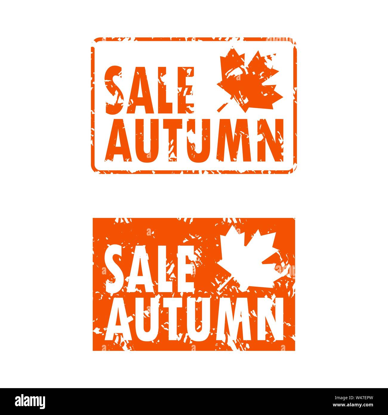Seal rubber stamp autumn sale set orange color. Vector promotion set sell-out seal for fashion store, autumnal advertising shopping rubber stamp illus - Stock Image