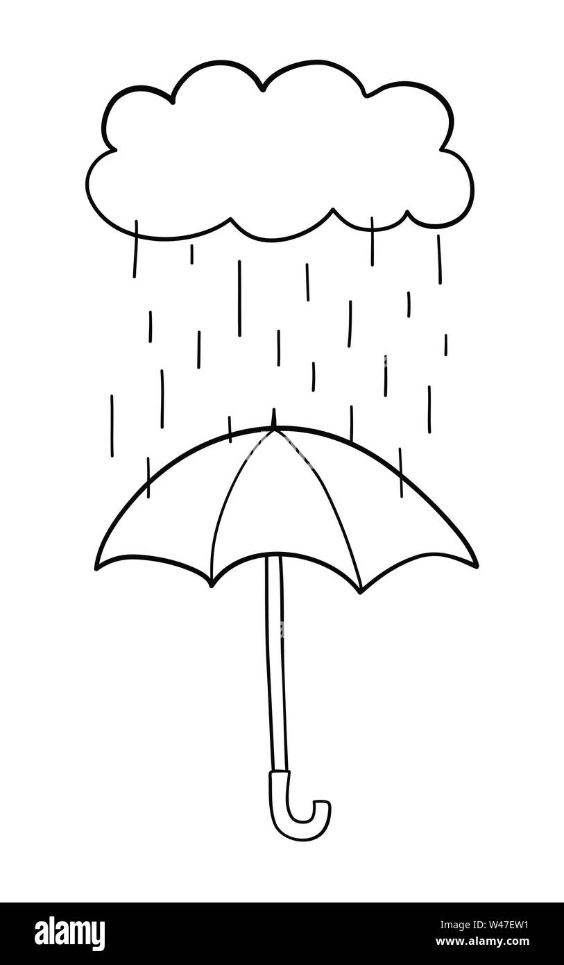 Vector hand-drawn illustration of it's raining and opened umbrella. Black outlines and white background. - Stock Image