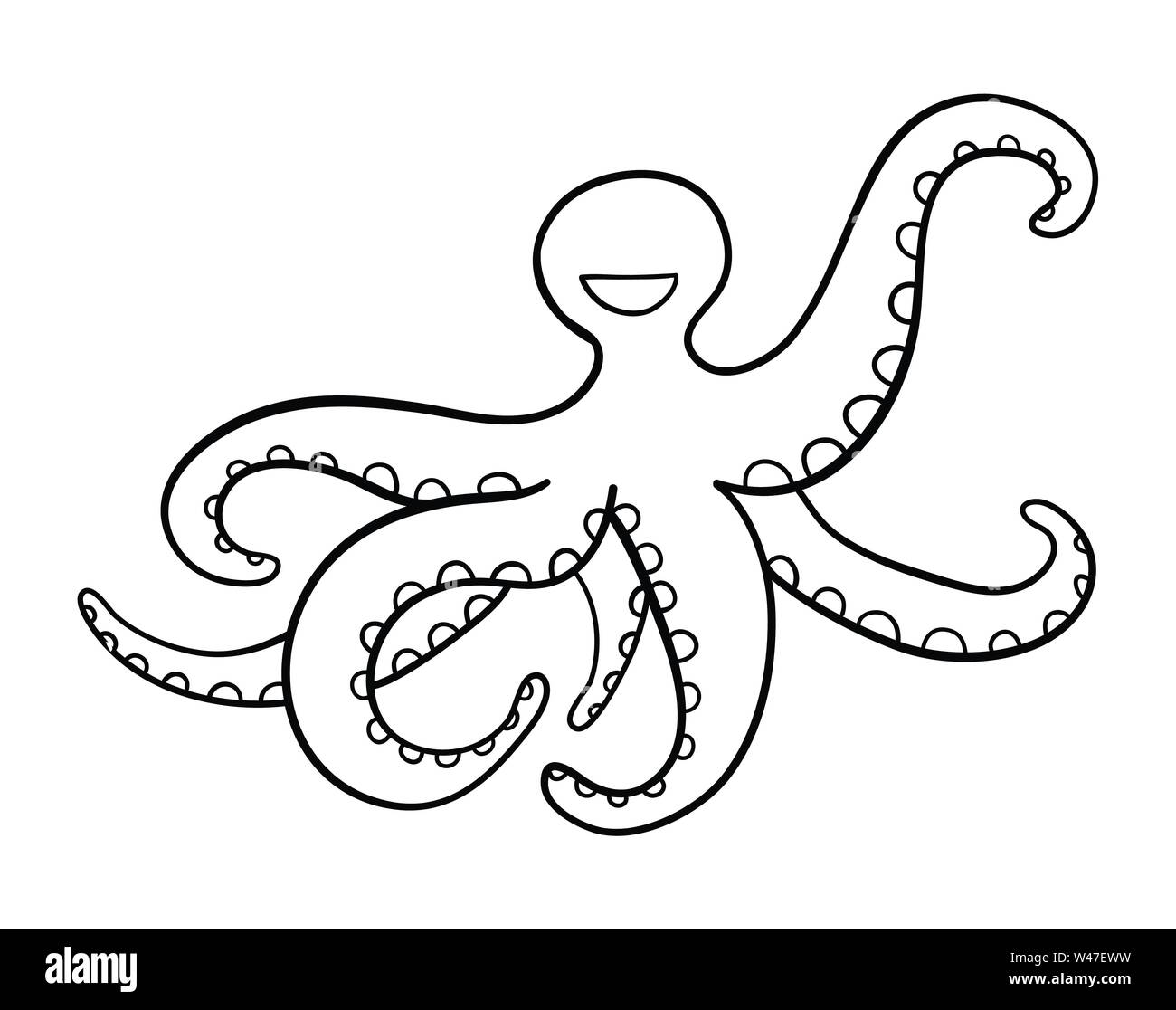 Vector hand-drawn illustration of blue octopus. Black outlines and white background. - Stock Image