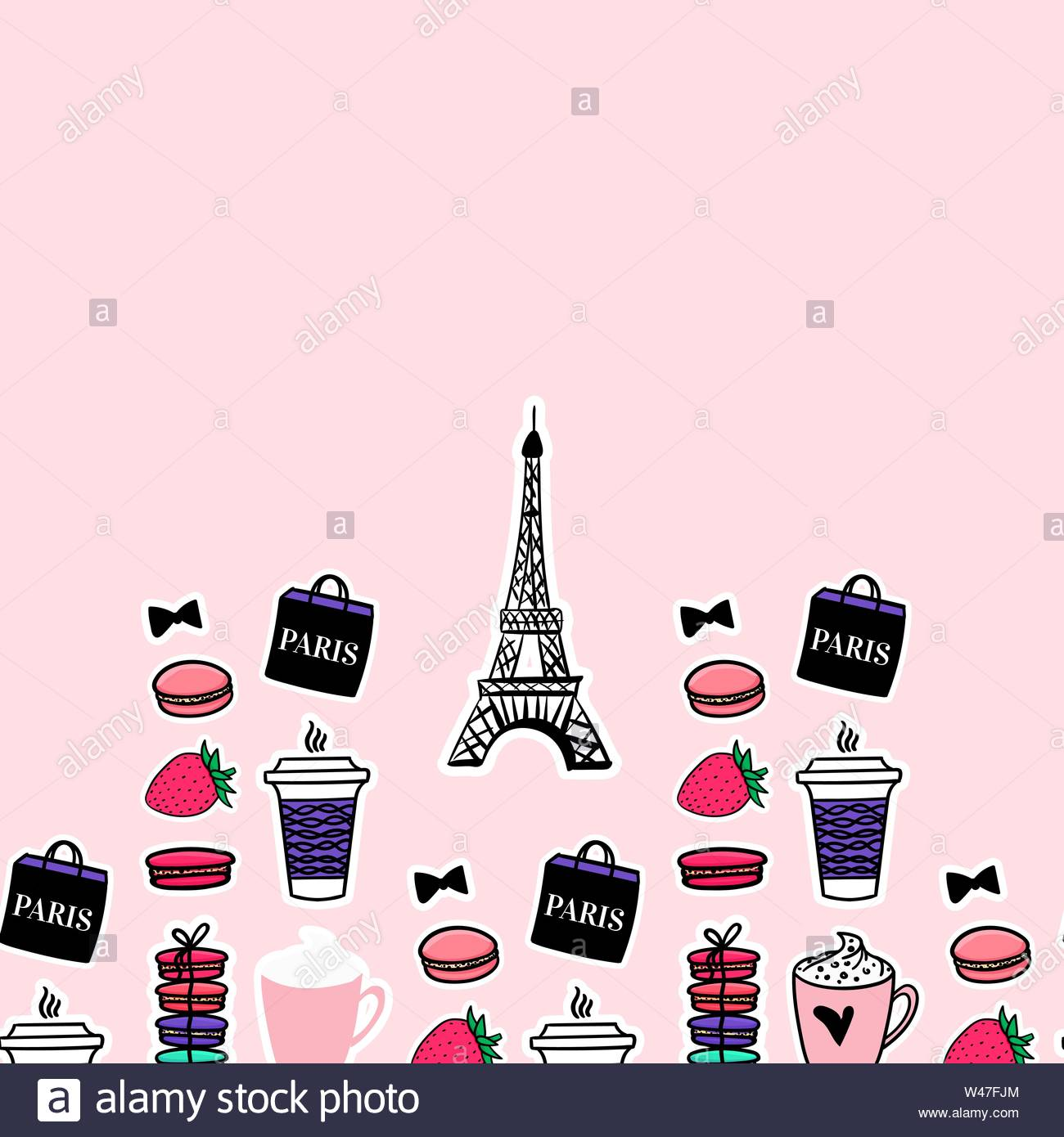 Paris seamlesss pattern. Eiffel tower with french coffe and dessert. Surface girly design. Stock Vector