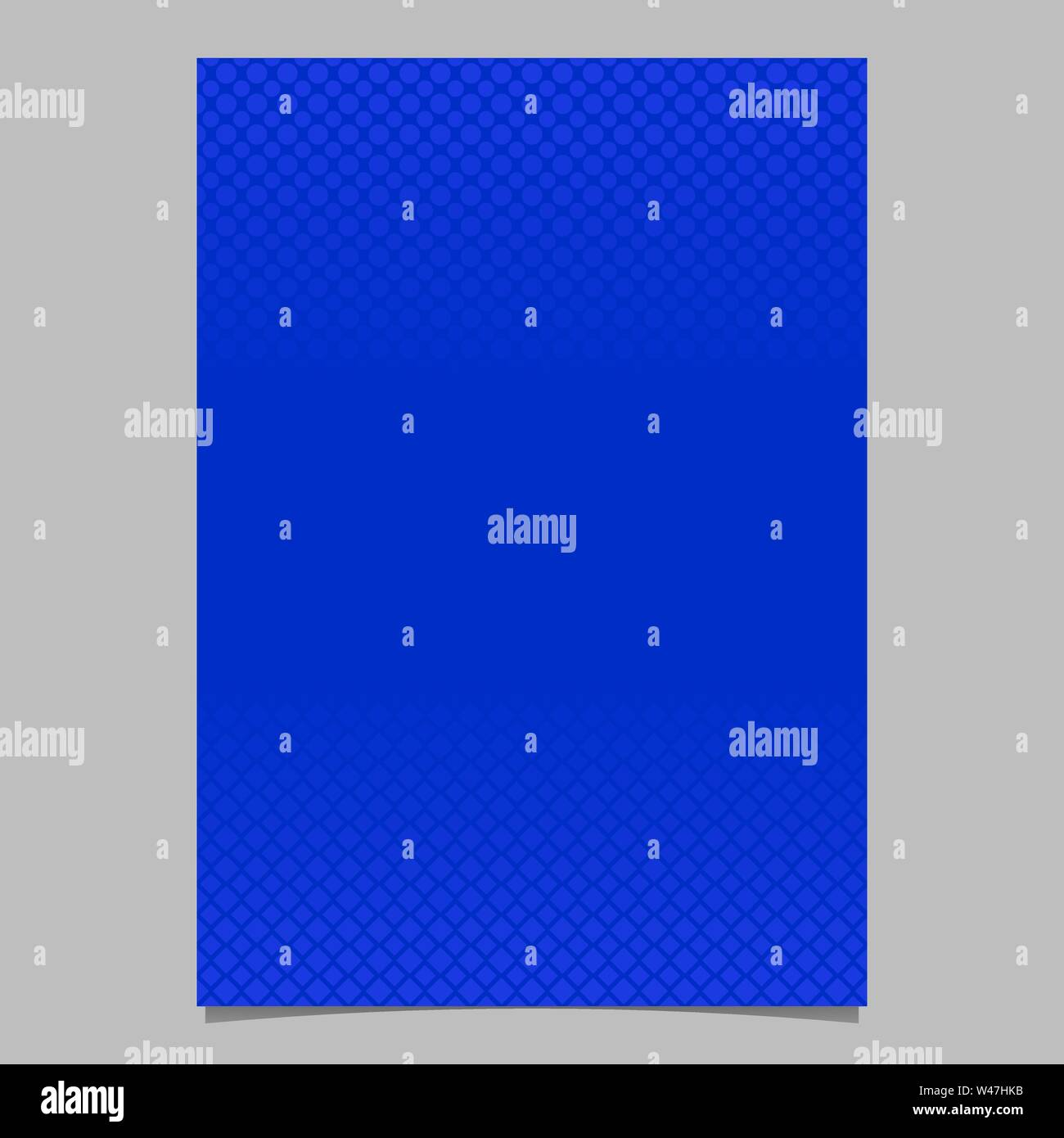 Blue abstract halftone geometric dot and square pattern brochure background template - vector design - Stock Image