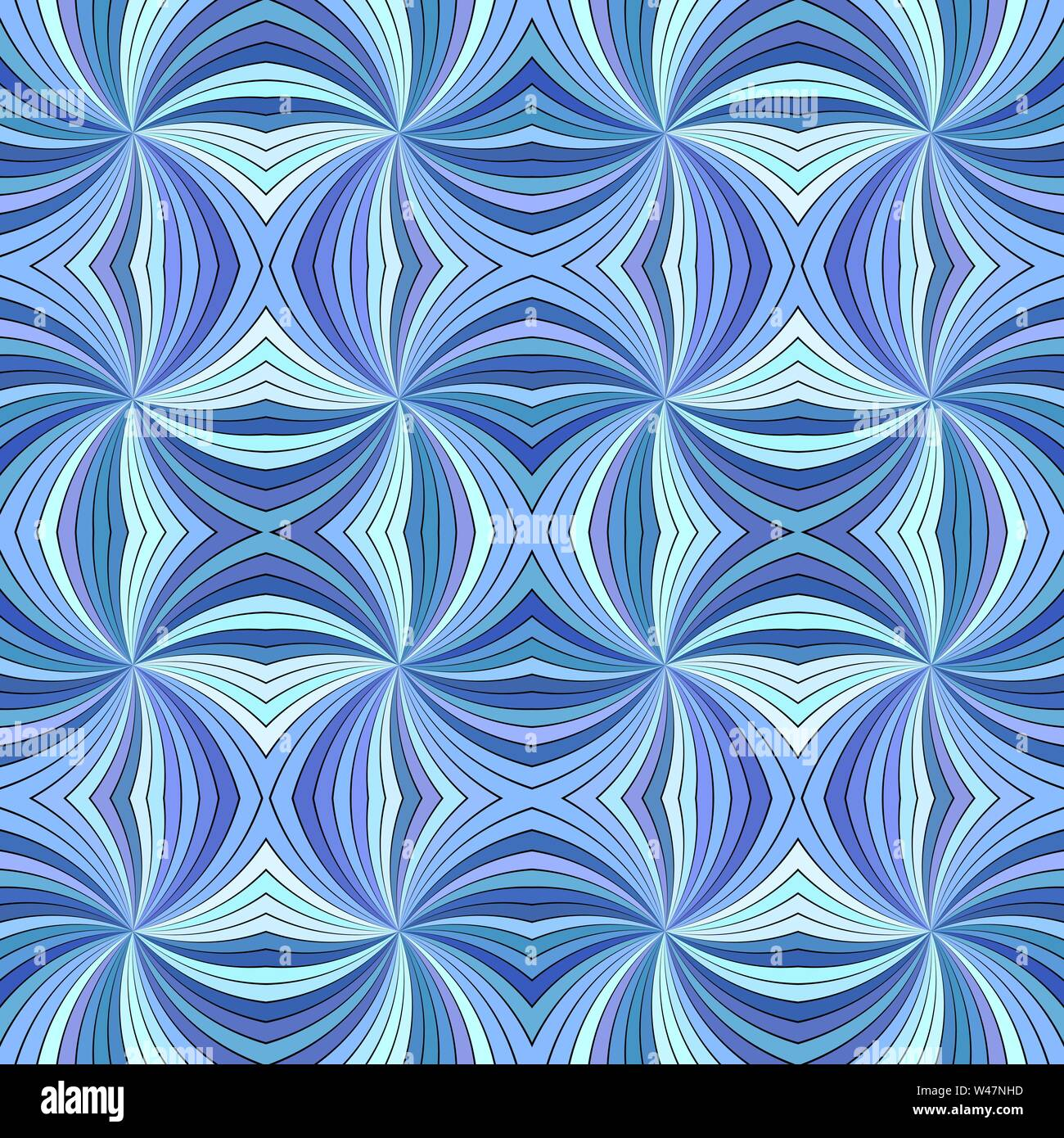 Blue seamless abstract hypnotic swirl stripe pattern background - vector ray burst design - Stock Image