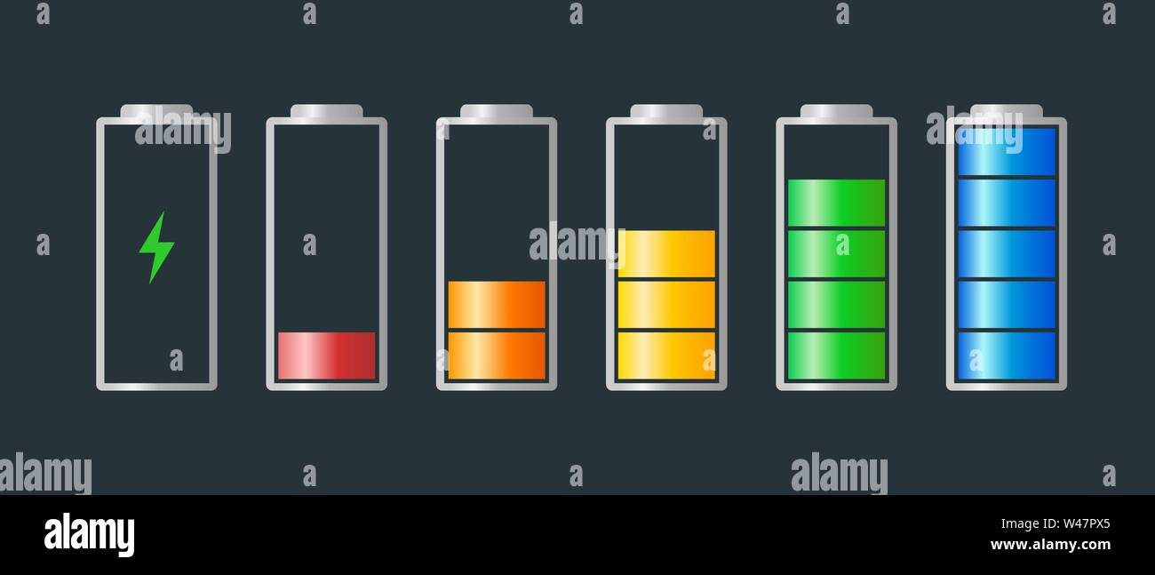 High to low power batteri charged energy indicator level set with recharging icon. Empty to full battery indicating red orange yellow blue step cylind - Stock Image