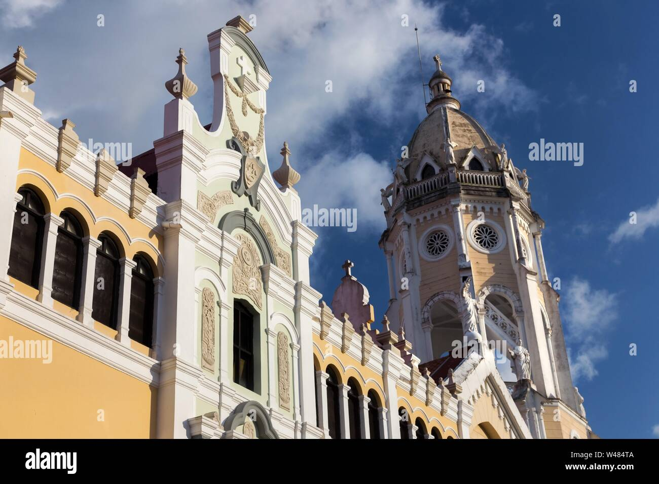 San Francisco De Asis Cathedral, a Roman Catholic Church built by Franciscans in Casco Viejo old Town, Panama City Stock Photo