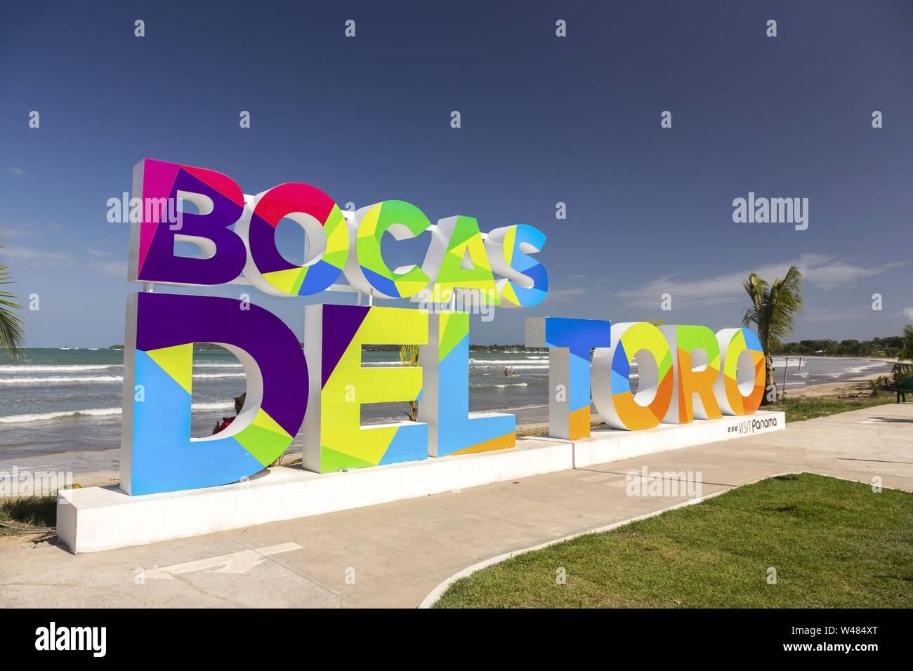 Colorful Large Block Letter Sign at Caribbean Sea Waterfront. Bocas Del Toro Archipelago is the most famous Panama tourist destination Stock Photo