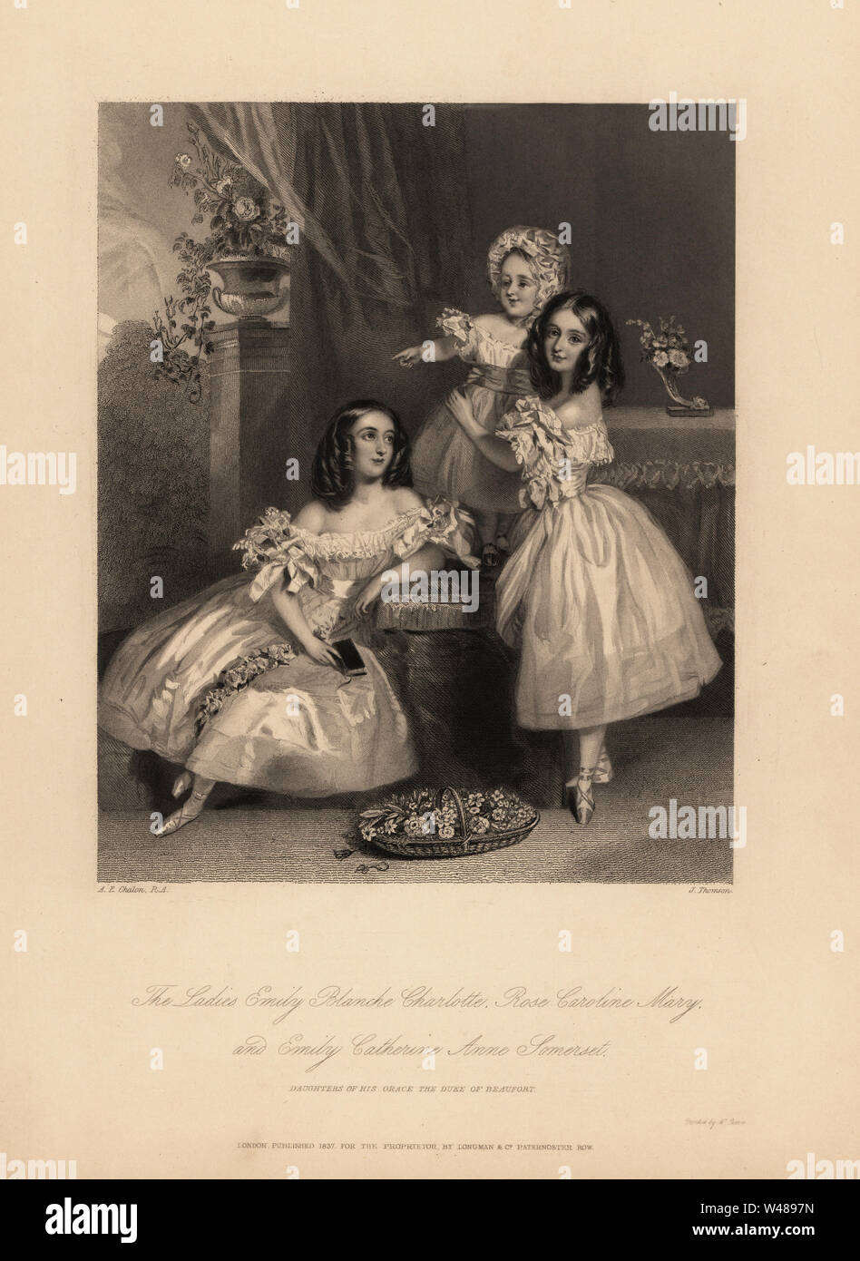 Portrait of Emily Blanche Charlotte, Rose Caroline and Emily Catherine Anne Somerset, daughters of Henry Somerset,  7th Duke of Beaufort. Three young sisters with ringlets in satin dresses with ribbons and lace, ballet shoes. Steel engraving by J. Thomson after an illustration by Alfred Edward Chalon from Charles Heath's Portraits of the Children of the Nobility, Longmont, London, 1838. Stock Photo