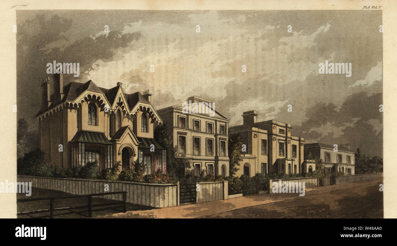 Group of villas on Herne Hill, Camberwell, London, 1825. Ornamental cottage, family home, picturesque house and two-story house with Sicilian roof. Handcoloured copperplate engraving after an illustration by J. Thomson from Rudolph Ackermann's Repository of Arts, London, 1825. Stock Photo