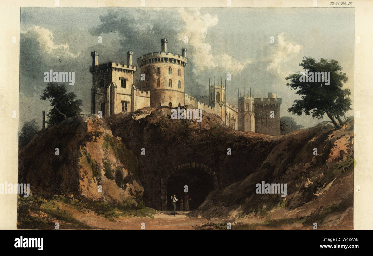 Belvoir Castle, Leicestershire, seat of John Manners, 5th Duke of Rutland. Built in the romantic Gothic Revival style to designs by the architect James Wyatt and restored by Sir James Thornton. Handcoloured copperplate engraving after an illustration by W. Westall from Rudolph Ackermann's Repository of Arts, London, 1825. Stock Photo