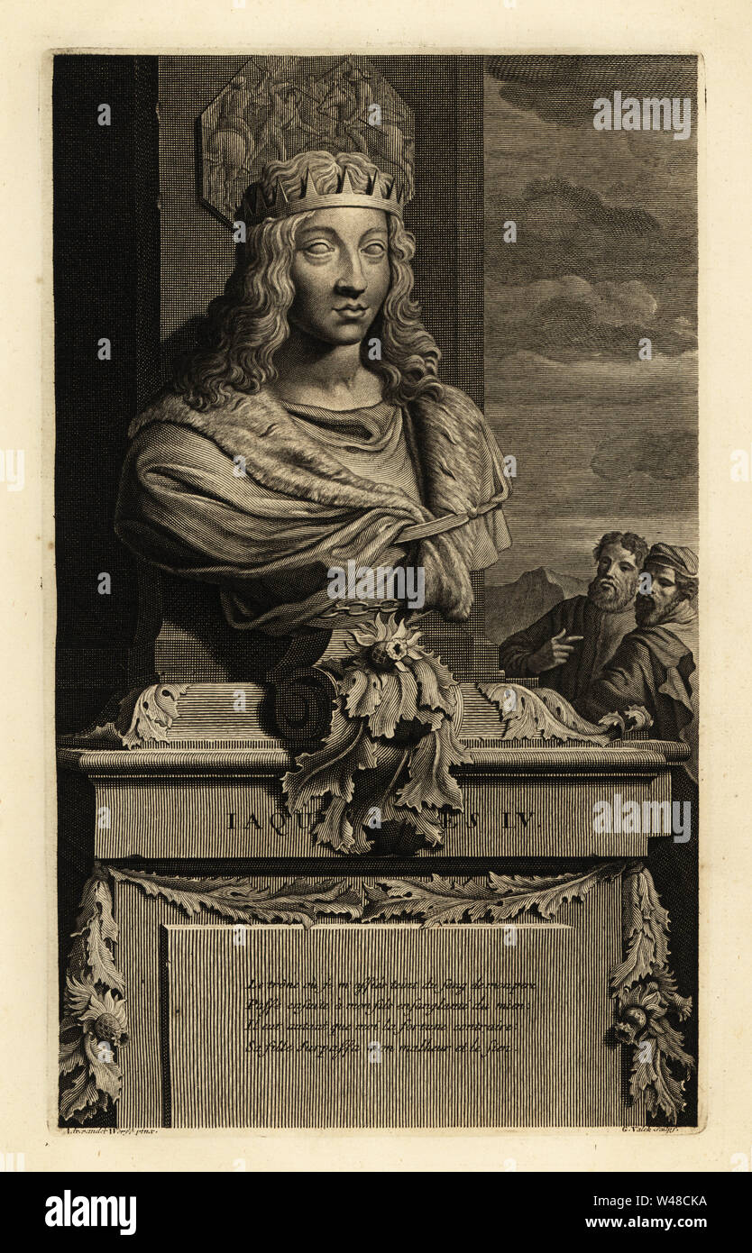 Portrait of a bust of King James IV of Scotland in crown/ Jacques ...