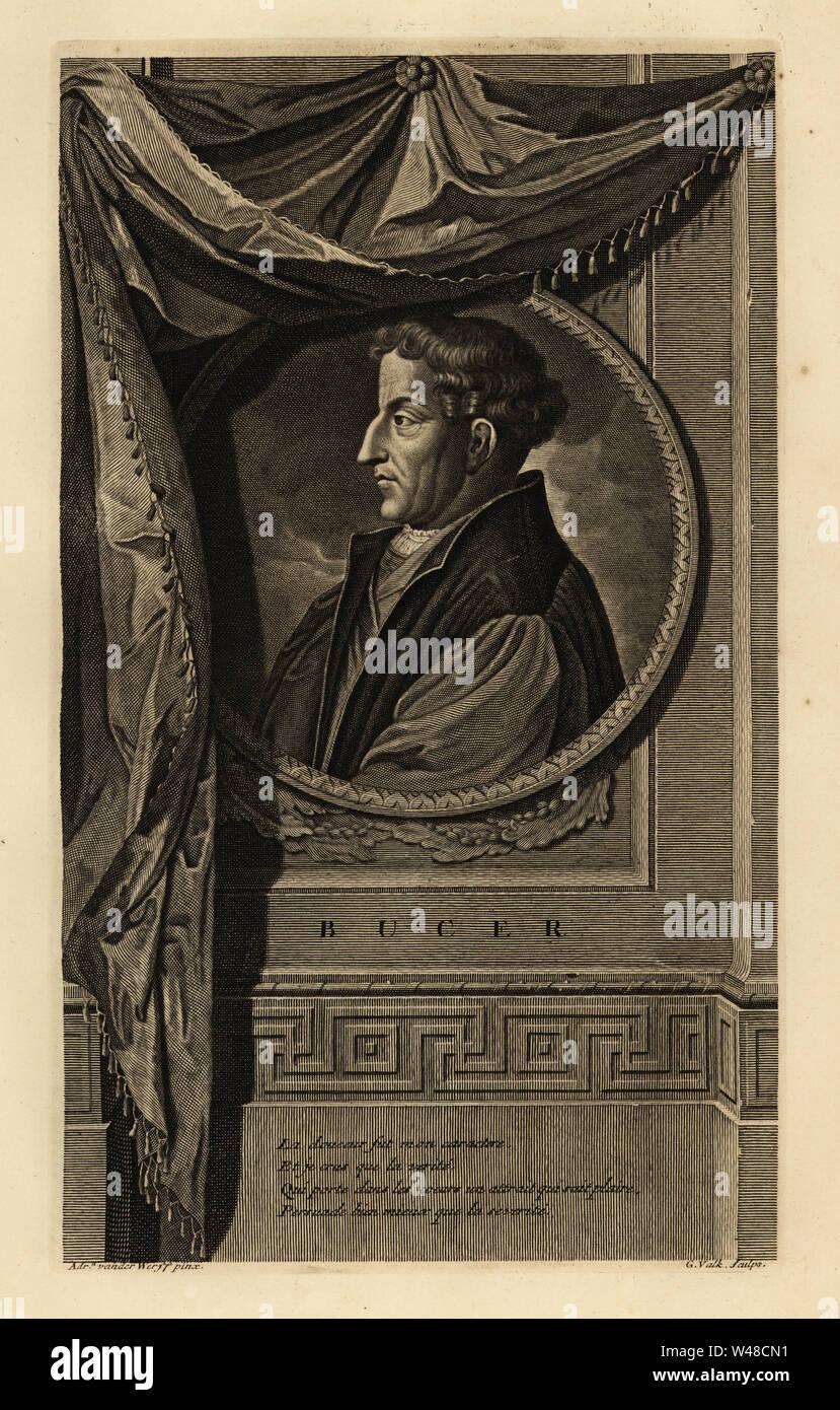 Portrait of Martin Bucer, German Protestant reformer. Copperplate engraving by Gerard Valck after Adriaen van der Werff from Isaac de Larrey's Histoire d'Angleterre, d'Ecosse et d'Irlande, Reinier Leers, Rotterdam, 1713. Stock Photo