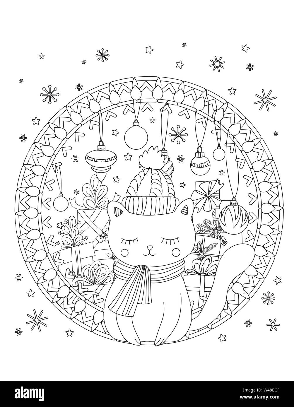 Christmas coloring page. Adult coloring book. Cute cat with scarf ...