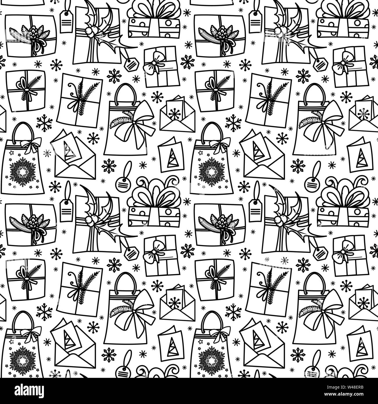 Seamless Pattern With Gift Boxes Ribbons And Bows Winter Holiday Presents In Hand Drawn Doodle Style Black And White Vector Illustration Isolated On White Background Perfect For Coloring Pages Stock Vector Image