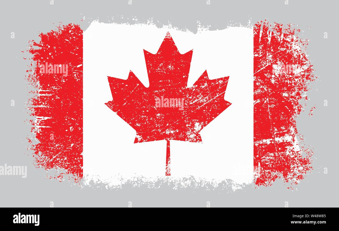 Vector illustration of grunge old distressed Canadian flag isolated on grey background - Stock Image