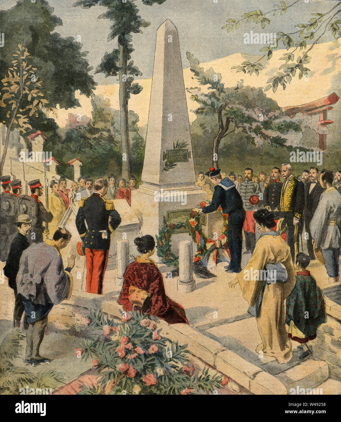 [ 1900s Japan - Funeral of French Sailors in Kobe ] —   French and local inhabitants of Kobe in Hyogo Prefecture at a memorial for French sailors who died after their ship Caravane collided with a Japanese cruiser in 1901 (Meiji 34).  Published in the daily Parisian newspaper Le Petit Journal on October 27, 1901 (Meiji 34).  Original text: 'Nos morts honorés au japon.'  20th century vintage newspaper illustration. - Stock Image