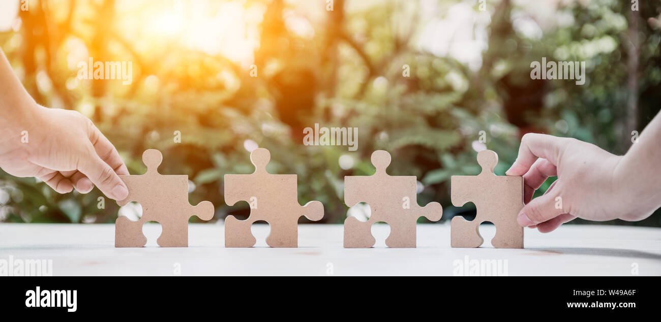 successful concept and goal. Business development and improvement. Puzzle and jigsaw. Stock Photo