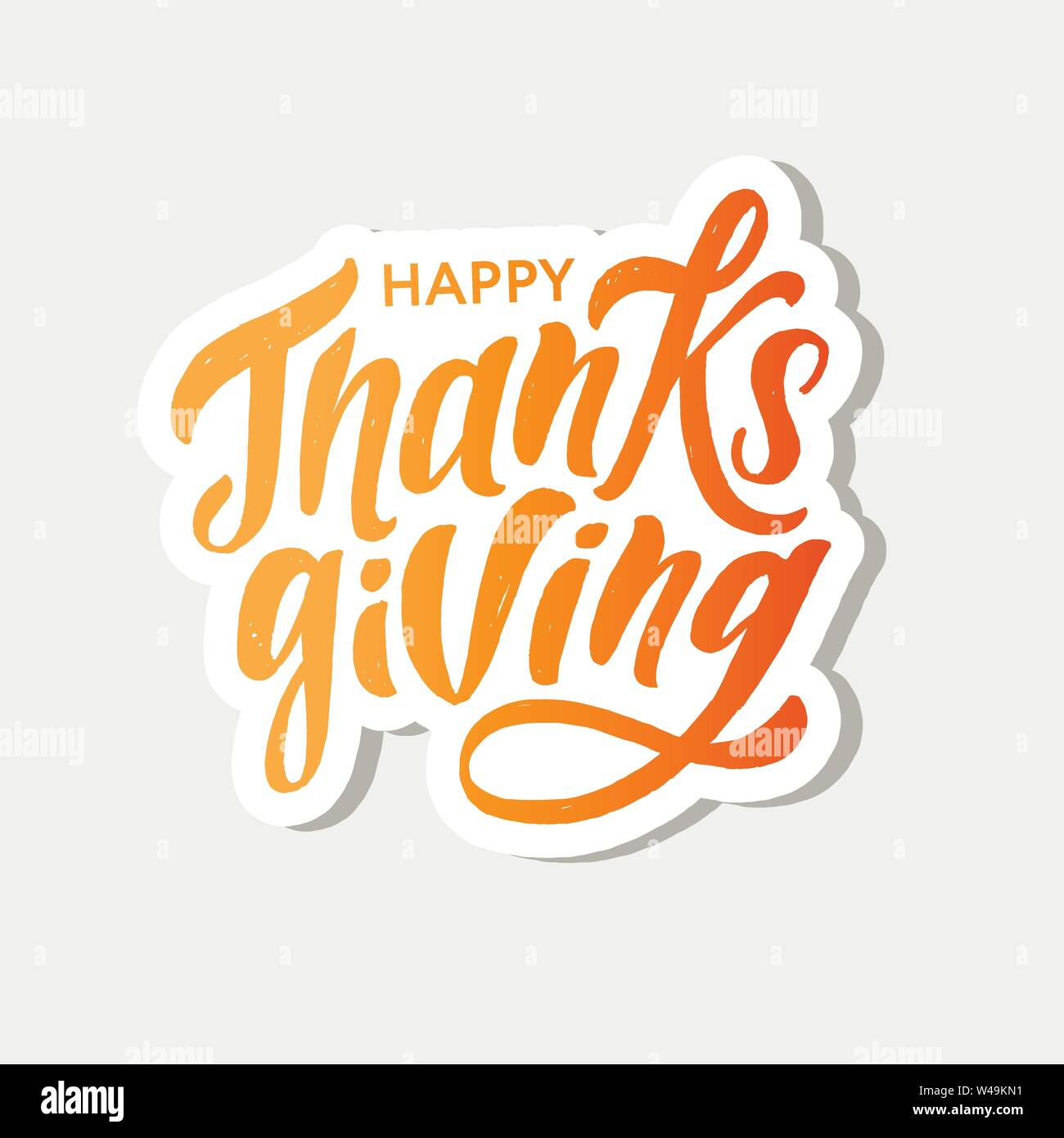 Happy Thanksgiving lettering Calligraphy Brush Text Holiday Vector Sticker Watercolor illustration - Stock Image