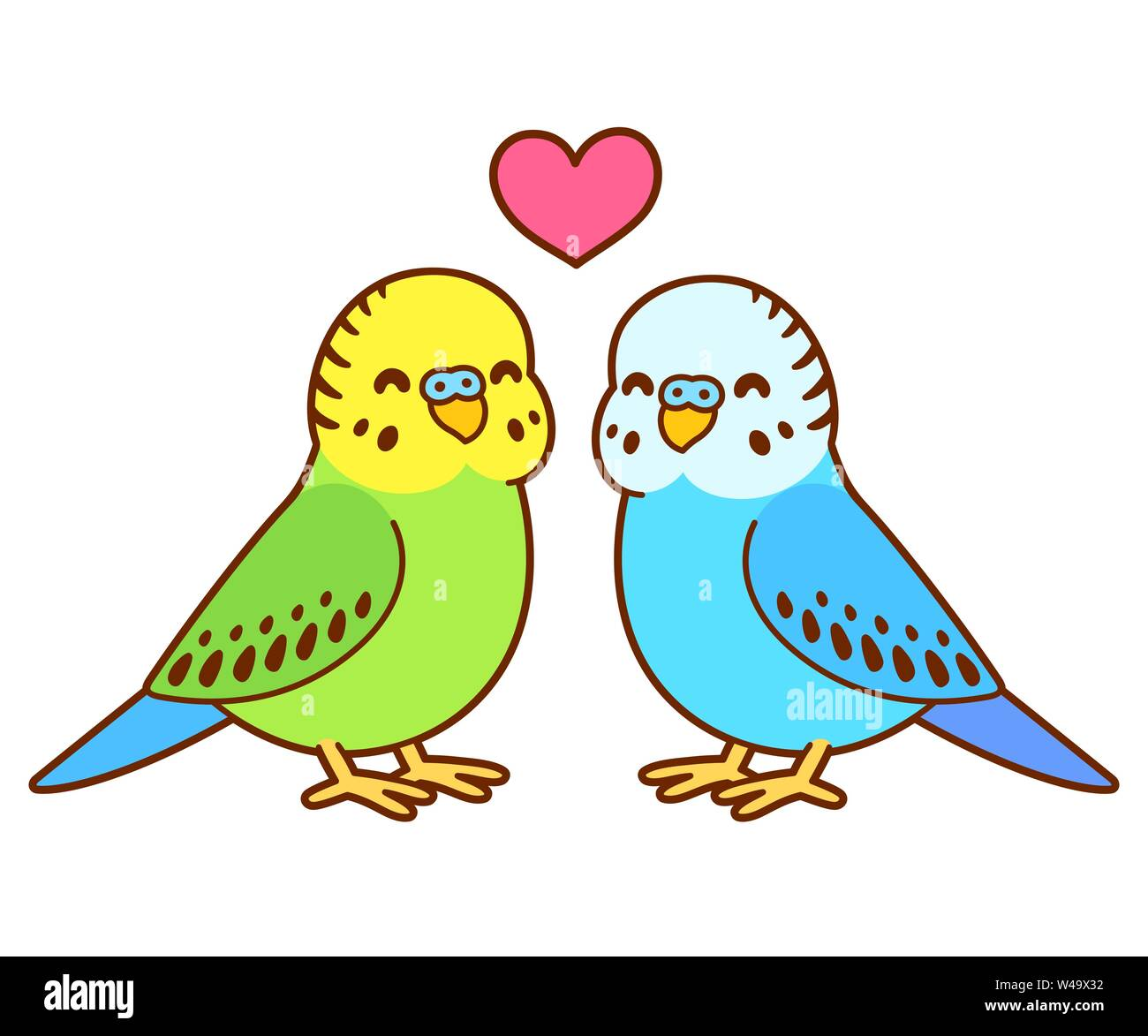 Cute cartoon budgie couple drawing. Little parakeet birds in love with heart above. Isolated vector clip art illustration. Stock Vector