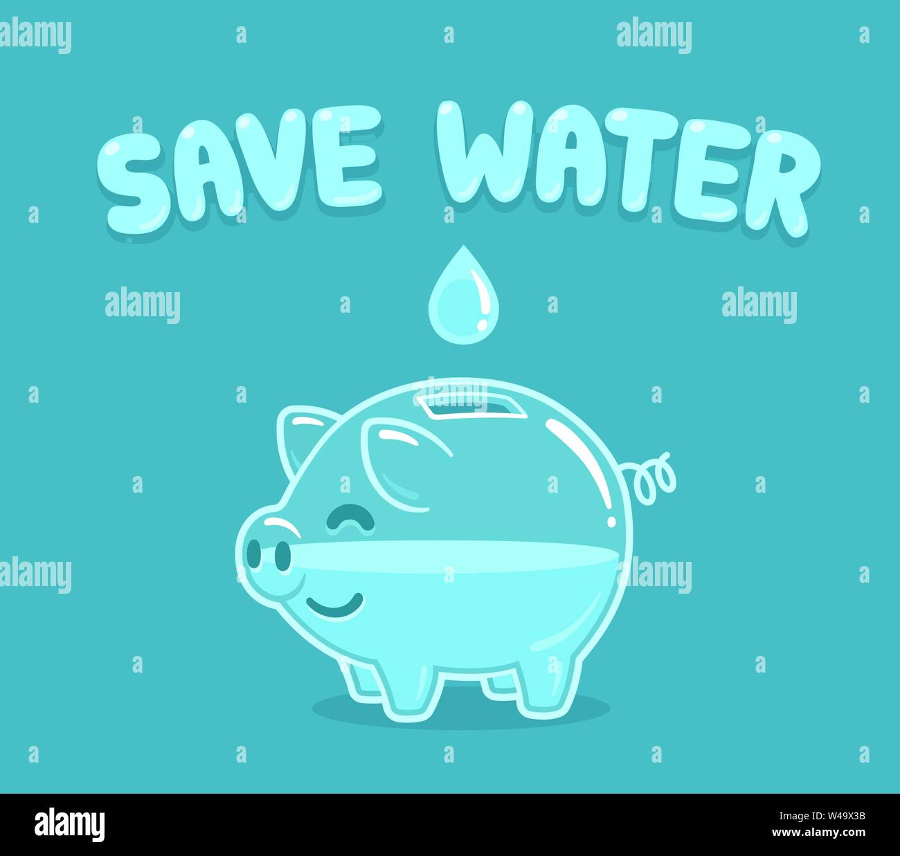 Cartoon Piggy Bank With Drop Of Water And Text Save Water