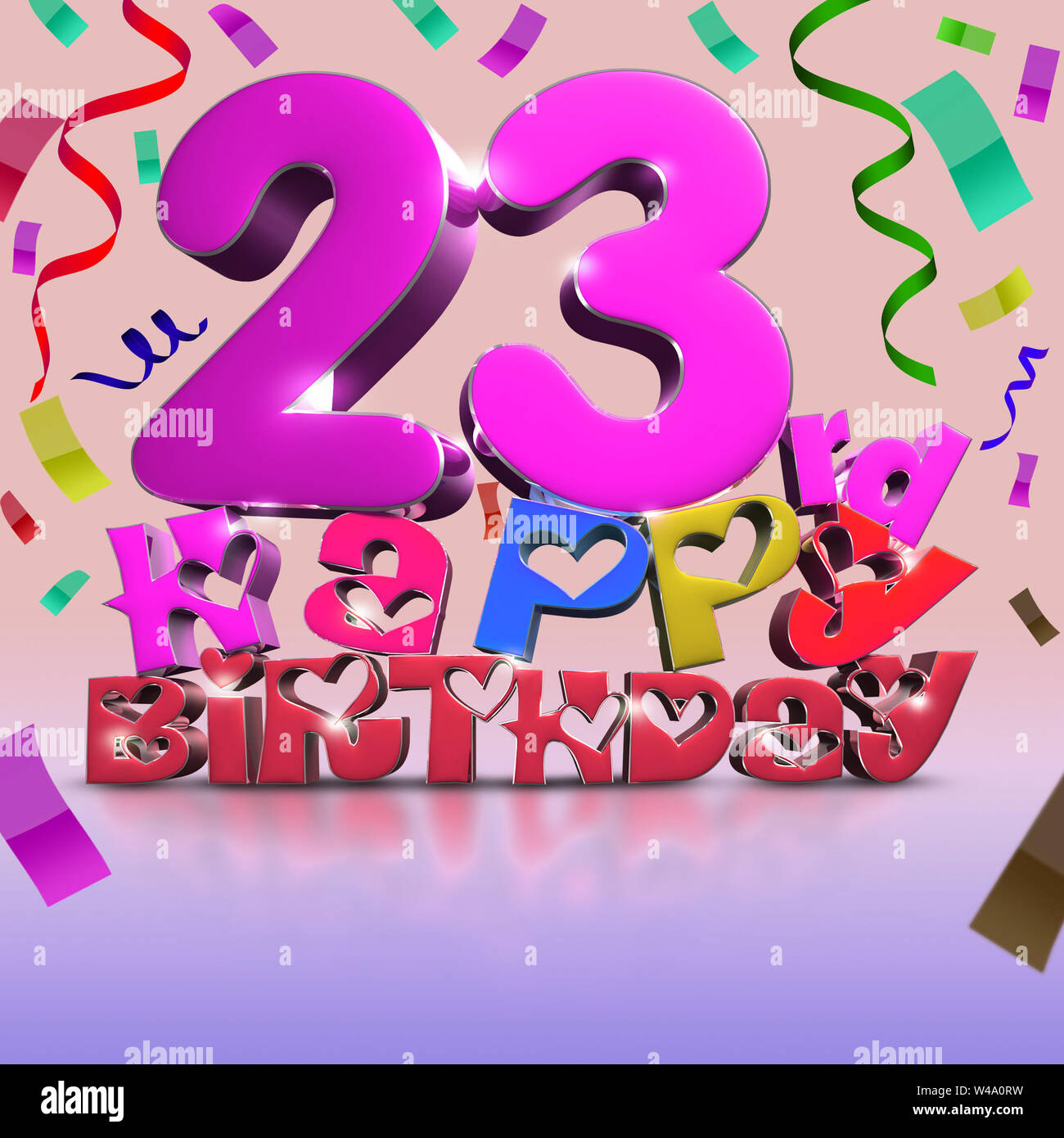23 Rd Happy Birthday 3d Rendering Ribbon As Background
