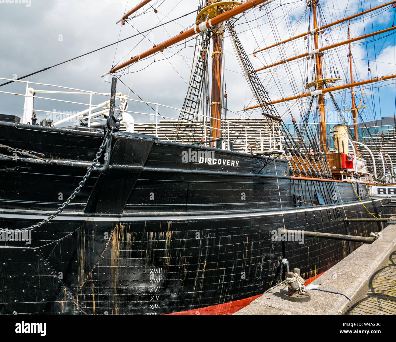 RSS Discovery Antarctic research ship in dry dock, Waterfront  Riverside Esplanade, Dundee, Scotland, UK Stock Photo