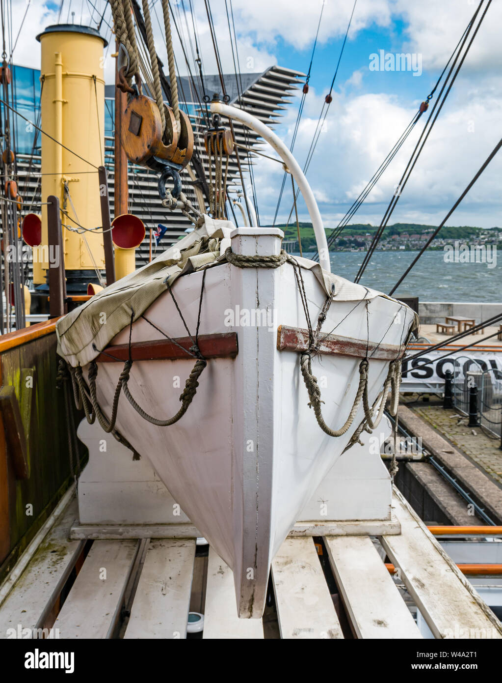 Lifeboat, RSS Discovery Antarctic research ship, Waterfront  Riverside Esplanade, Dundee, Scotland, UK Stock Photo
