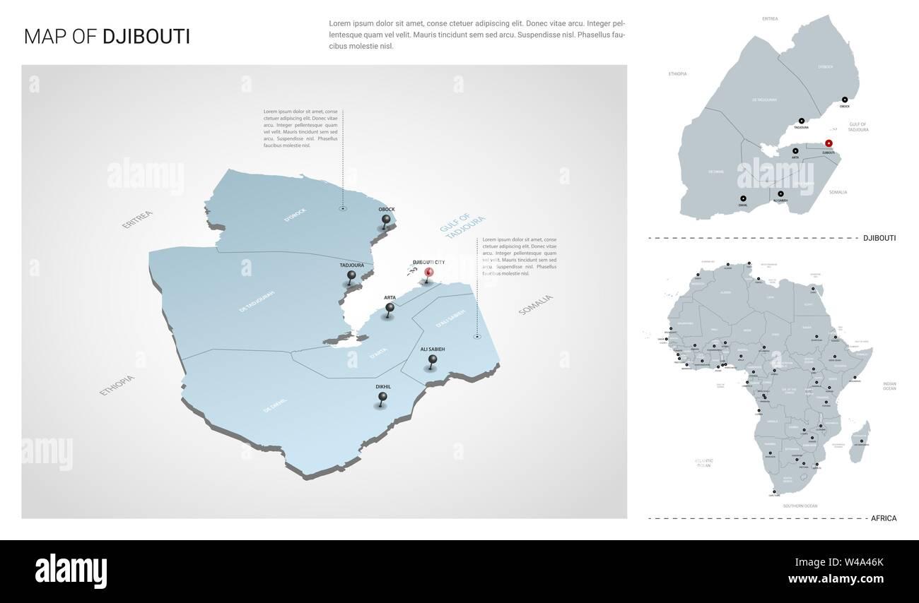 Vector set of Djibouti country. Isometric 3d map, Djibouti ...