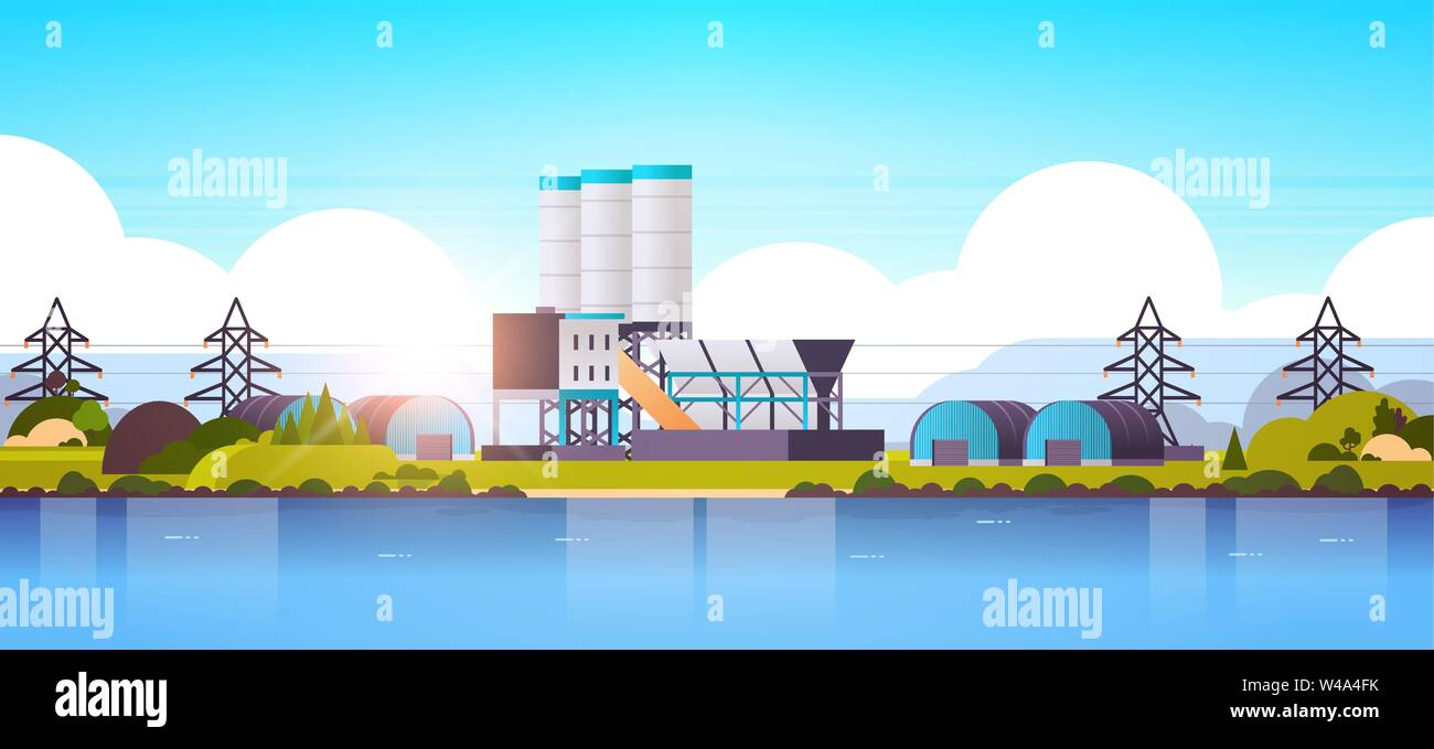 manufacturing factory buildings near river or sea industrial zone plant with pipes and chimney power station production technology concept horizontal - Stock Vector
