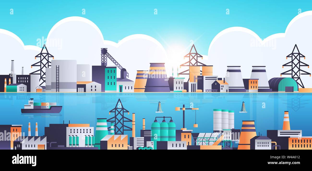 factory building industrial zone plant with pipes and chimneys near sea or river production technology concept horizontal flat - Stock Vector