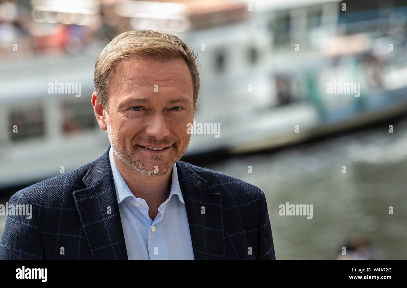 """Berlin, Germany. 21st July, 2019. FDP chairman Christian Lindner comes to the show """"Bericht aus Berlin"""", the ARD summer interview. Credit: Paul Zinken/dpa/Alamy Live News Stock Photo"""