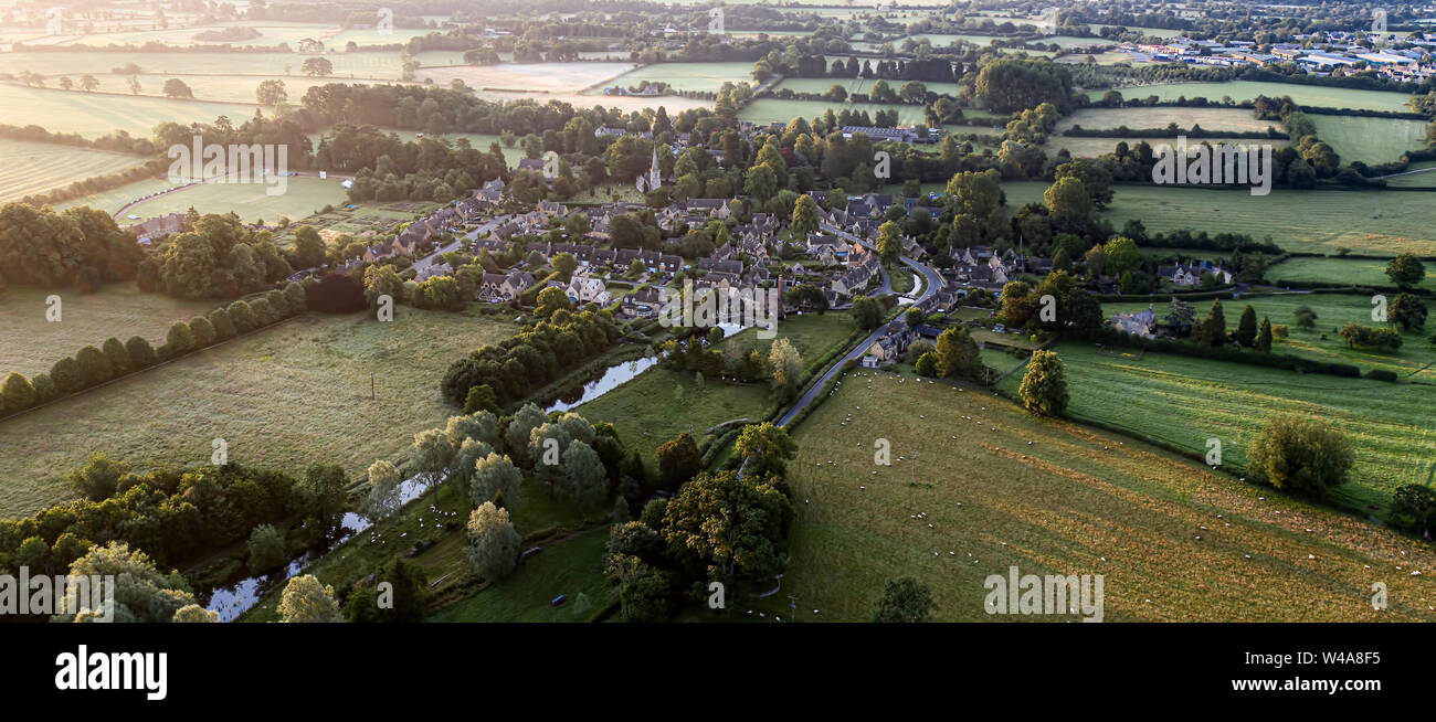 Aerial view of Lower Slaughter Cotswold village by River Windrush Gloucestershire Stock Photo
