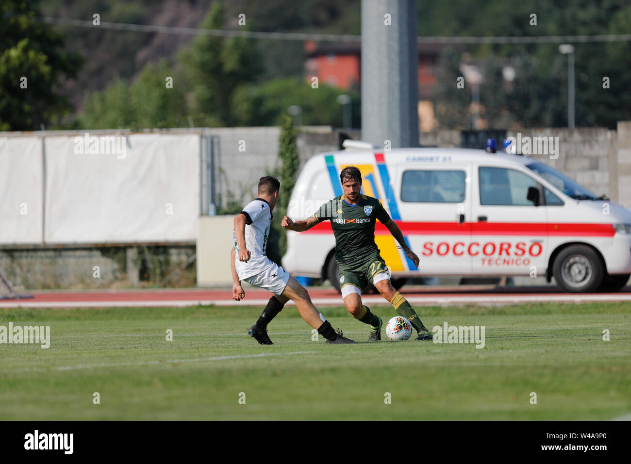Darfo Boario, Italia. 21st July, 2019. Foto Stefano Nicoli/LaPresse21 luglio 2019 Darfo Boario (Bs), Italia sport calcio Amichevole Brescia Darfo Pre Campionato di calcio Serie A 2019/2020 - Nella foto: Daniele Dessena Photo Stefano Nicoli/LaPresse July 20, 2019 Darfo Boario (Bs), Italy sport soccer Friendly match Brescia Darfo League A TIM 2019/2020 - In the pic: Daniele Dessena Credit: LaPresse/Alamy Live News - Stock Image