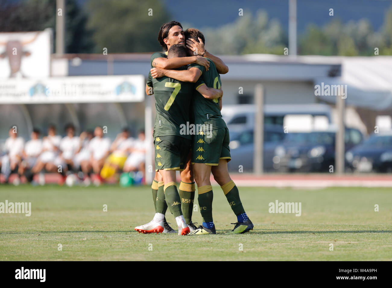 Darfo Boario, Italia. 21st July, 2019. Foto Stefano Nicoli/LaPresse21 luglio 2019 Darfo Boario (Bs), Italia sport calcio Amichevole Brescia Darfo Pre Campionato di calcio Serie A 2019/2020 - Nella foto: Esultanza Donnarumma Torregrossa e Spalek Photo Stefano Nicoli/LaPresse July 20, 2019 Darfo Boario (Bs), Italy sport soccer Friendly match Brescia Darfo League A TIM 2019/2020 - In the pic: Donnarumma Torregossa e Spalek Credit: LaPresse/Alamy Live News - Stock Image