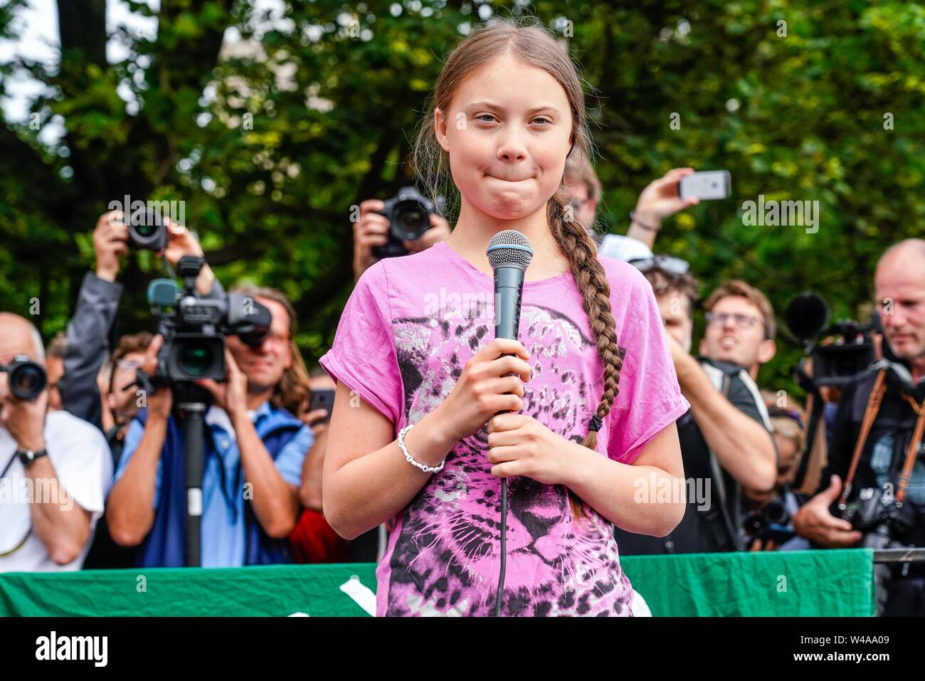 19.07.2019, the 16-year-old Swedish climate activist Greta Thunberg demonstrates together with the Berlin demonstrators at the Fridays for future event in Berlin. In her speech, she encourages the demonstrators to continue strikes. The school strikes for compliance with the Paris Convention were initiated by the Swedish schoolgirl and are now taking place worldwide.   usage worldwide - Stock Image