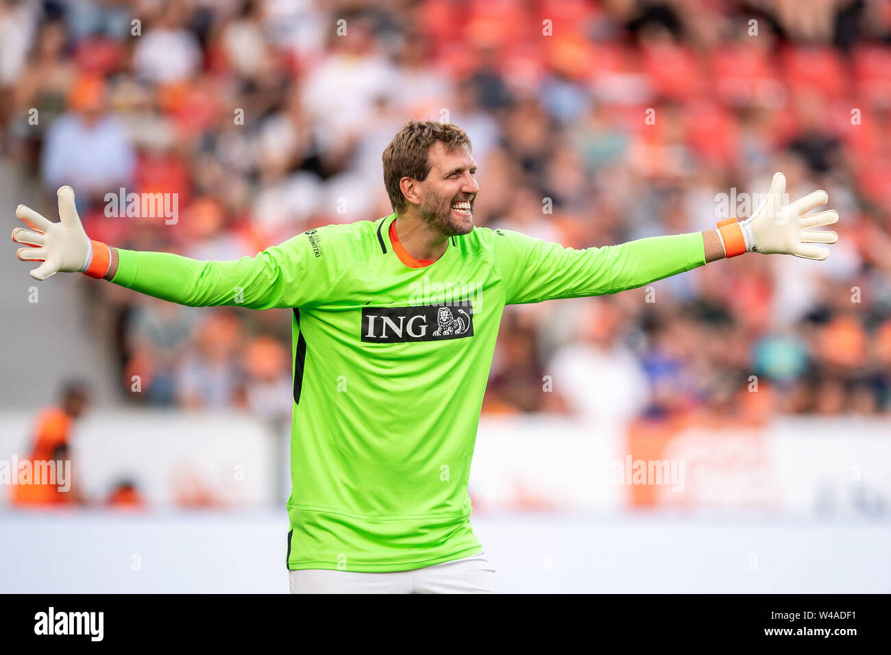 Leverkusen, Germany. 21st July, 2019. Soccer: Benefit soccer game 'Champions for Charity' in the BayArena. The former basketball player Dirk Nowitzki cheers after a parade. Credit: Marius Becker/dpa/Alamy Live News - Stock Image