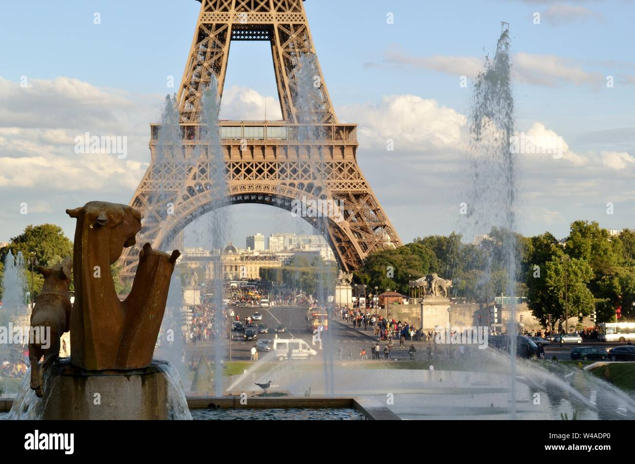 Detail of the fountain of Warsaw and the Eiffel Tower in the background. Stock Photo