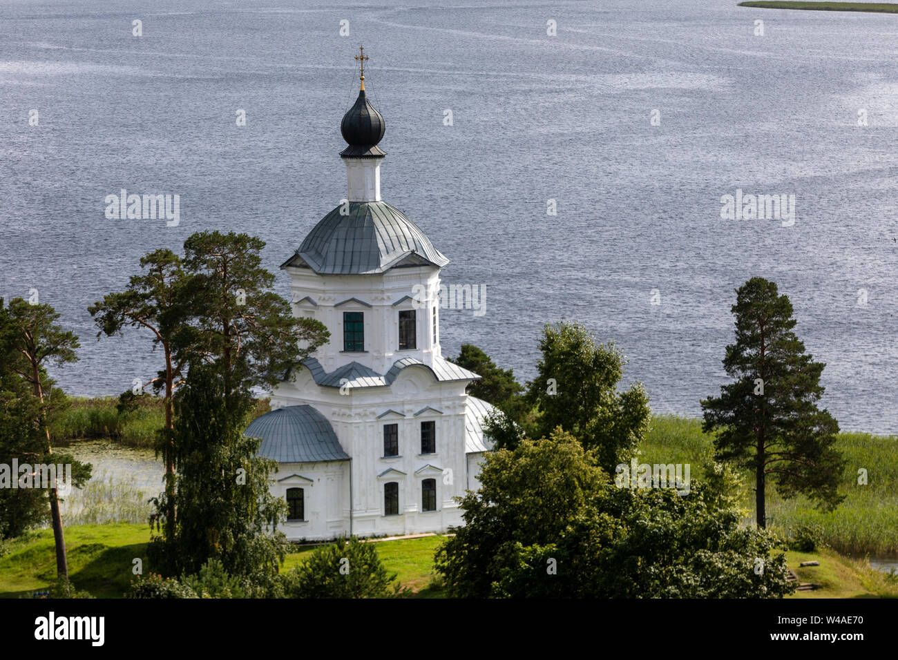 Church Of The Exaltation Of The Holy Cross of Nilov Monastery is located on the southwest side of Stolobny island, Tver region, Russia Stock Photo