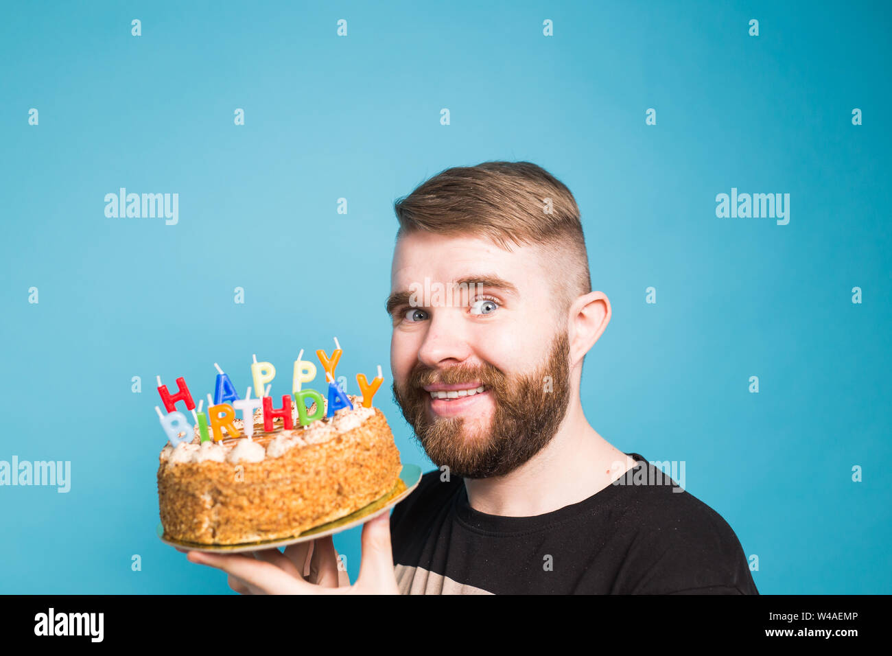 Awe Inspiring Crazy Funny Positive Guy Hipster Holding A Happy Birthday Cake In Birthday Cards Printable Opercafe Filternl