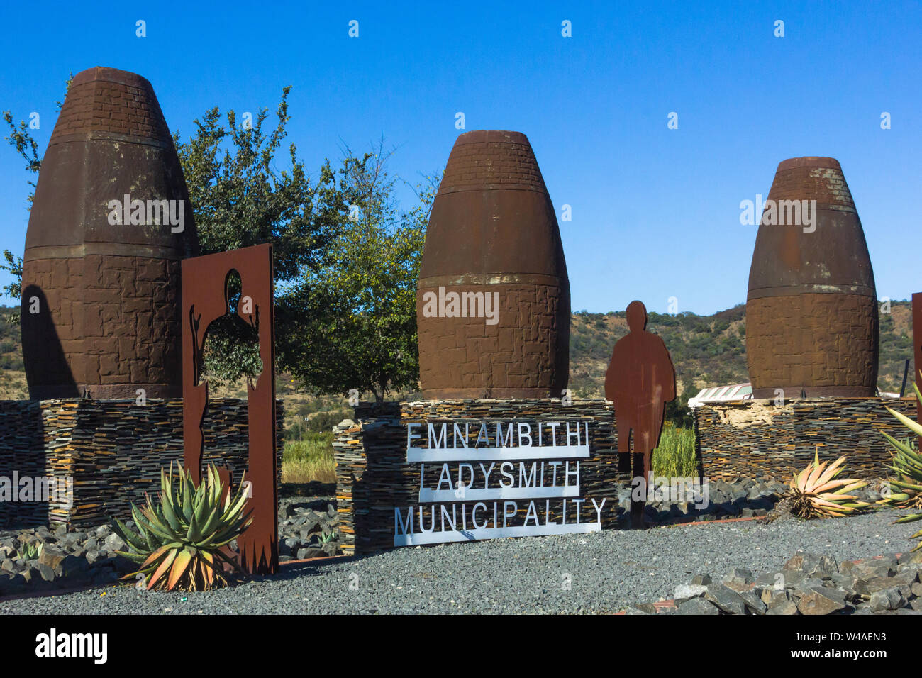 Emnambithi Ladysmith municipality welcome metal sign at the entrance to the town in Kwazulu Natal, South Africa Stock Photo