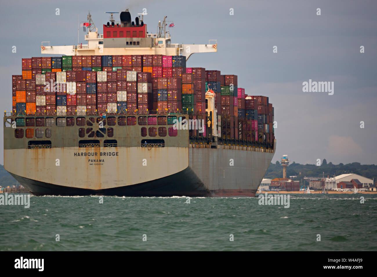 Ship,Harbour Bridge,,Panama, Container,Ship,Southampton,Terminal,The Solent,China,Europe,import,trade, Stock Photo
