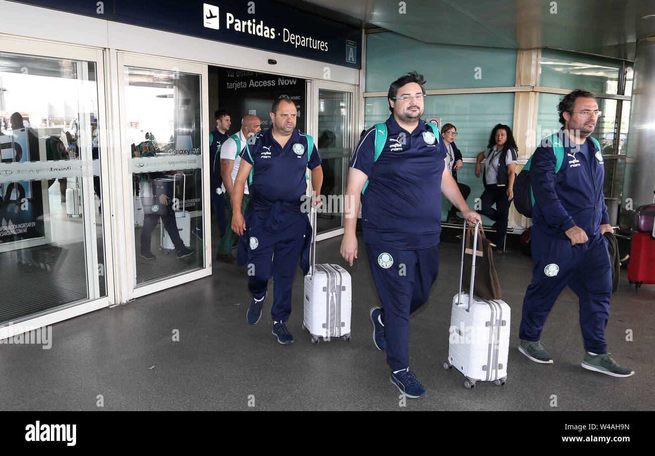 Buenos Aires, Argentina. 21st July, 2019. The soccer director Alexandre Mattos and the administrative supervisor Gustavo Franco (C), from SE Palmeiras, during landing, at Buenos Aires International Airport. Credit: Cesar Greco/FotoArena/Alamy Live News - Stock Image