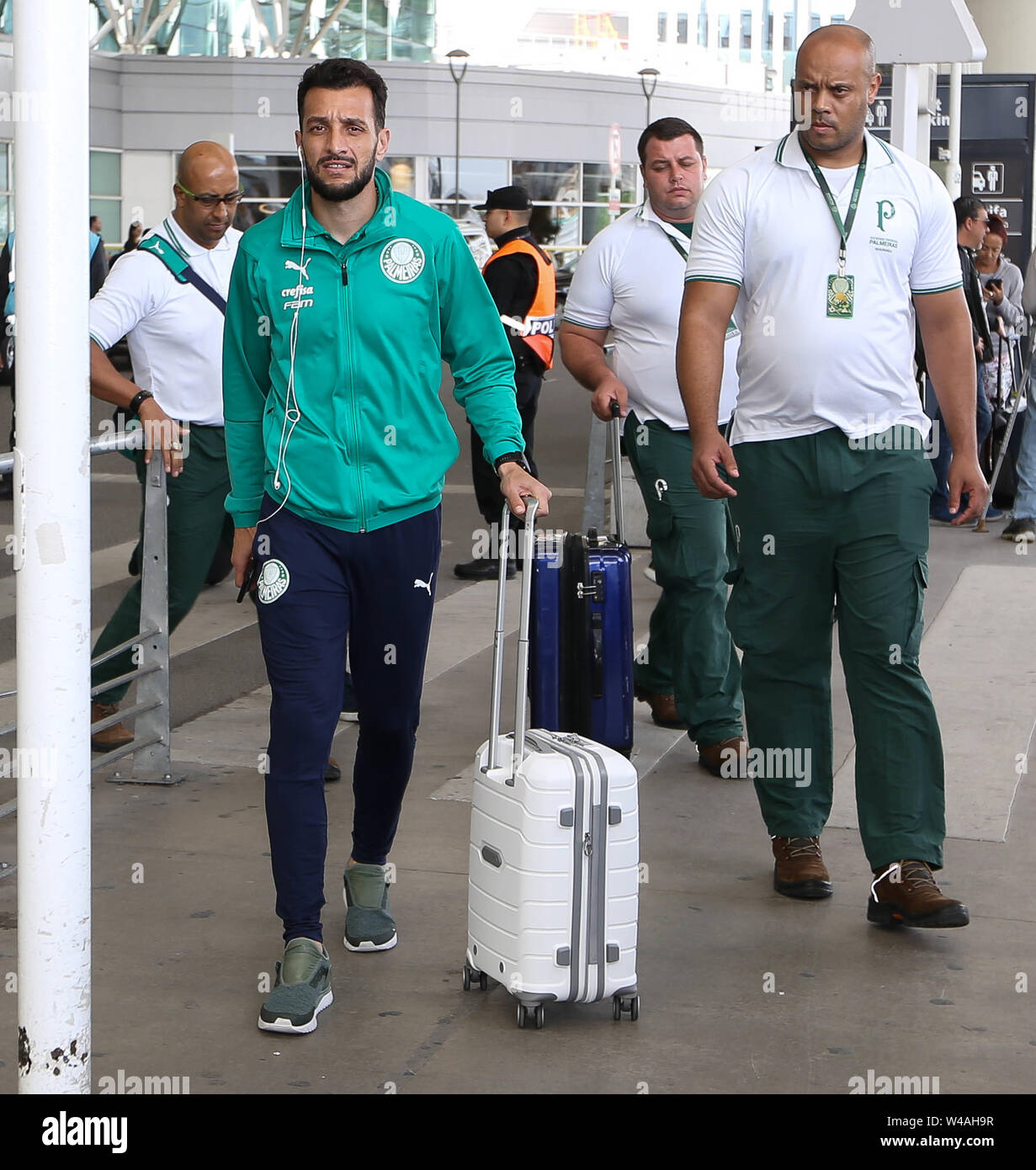 Buenos Aires, Argentina. 21st July, 2019. Edu Dracena, from SE Palmeiras, during disembarkation, at Buenos Aires International Airport. Credit: Cesar Greco/FotoArena/Alamy Live News - Stock Image