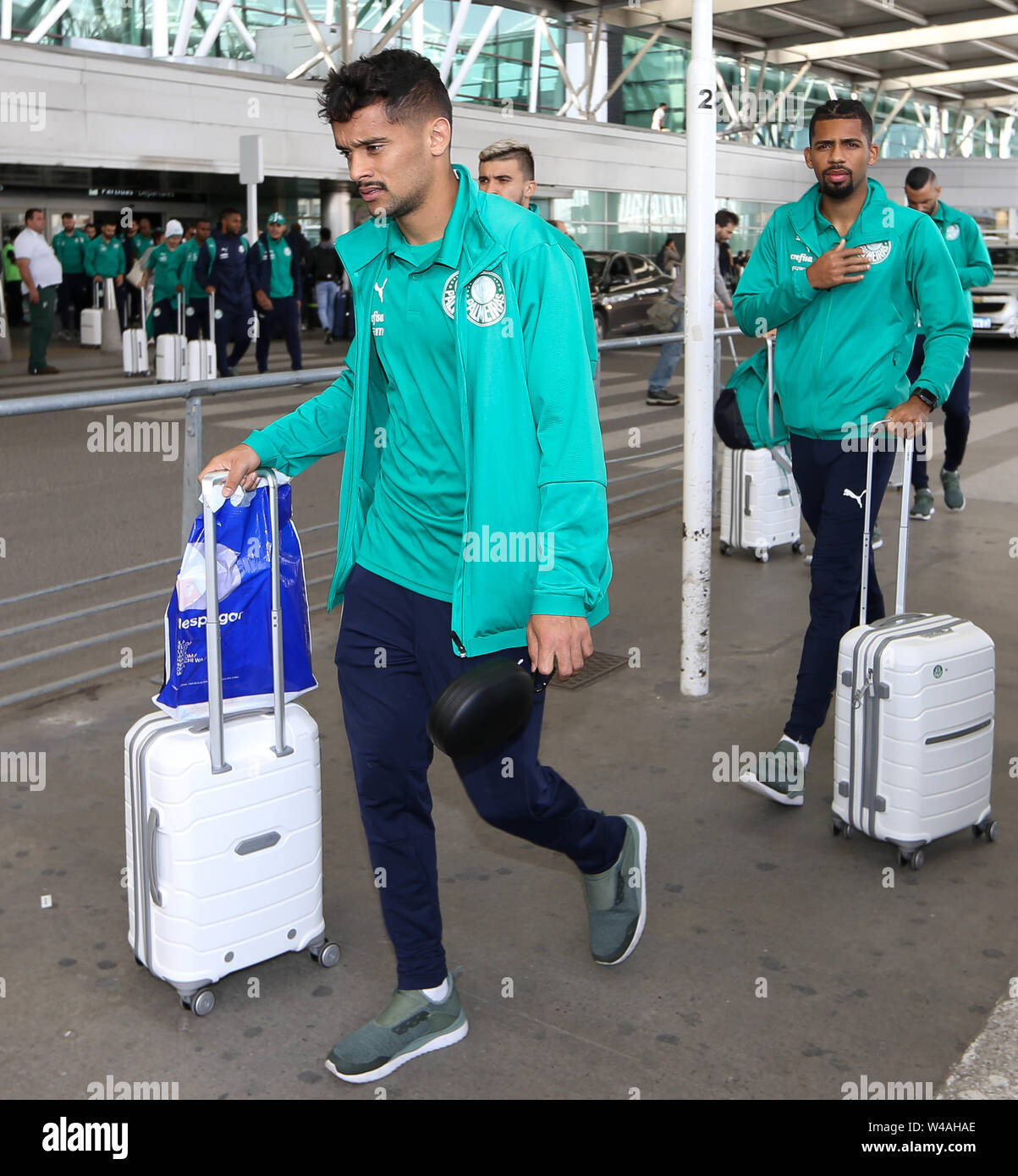 Buenos Aires, Argentina. 21st July, 2019. Gustavo Scarpa, from SE Palmeiras, during landing, at Buenos Aires International Airport. Credit: Cesar Greco/FotoArena/Alamy Live News - Stock Image