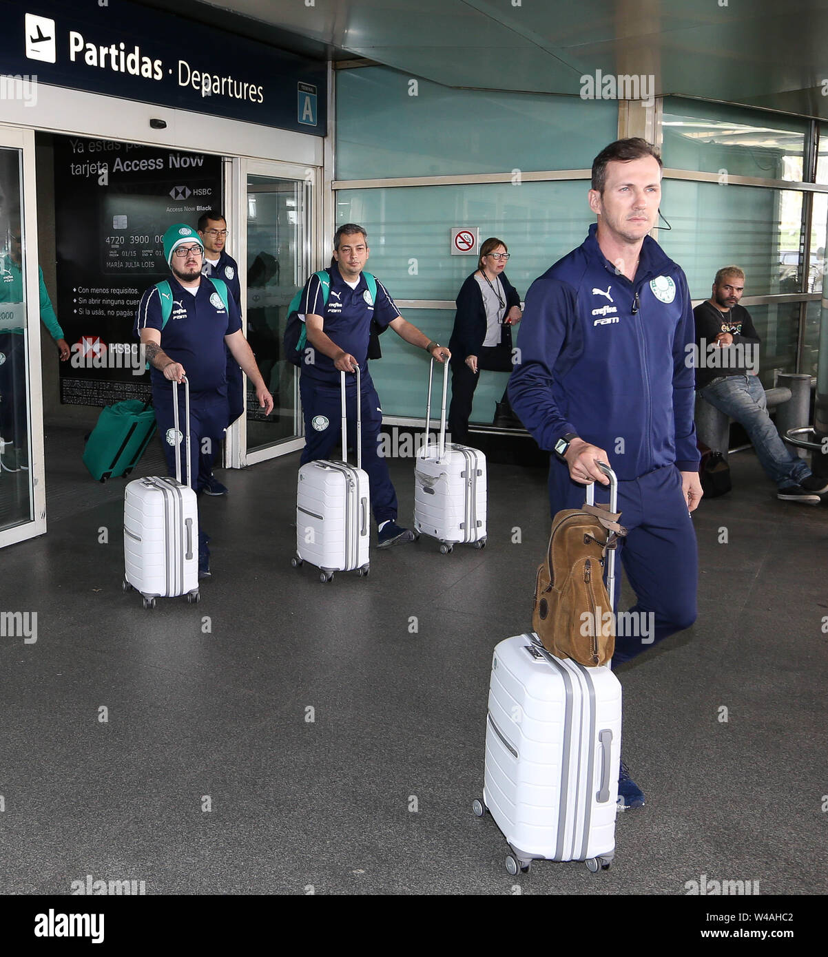 Buenos Aires, Argentina. 21st July, 2019. The assistant coach Paulo Turra, SE Palmeiras, during landing, at the International Airport of Buenos Aires. Credit: Cesar Greco/FotoArena/Alamy Live News - Stock Image