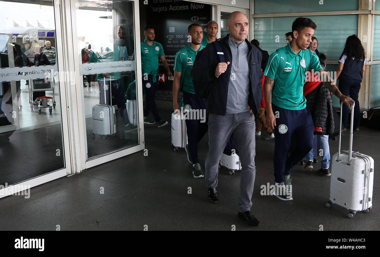 Buenos Aires, Argentina. 21st July, 2019. President Mauricio Galiotte and the player Marcos Rocha (D) of SE Palmeiras, during landing, at Buenos Aires International Airport. Credit: Cesar Greco/FotoArena/Alamy Live News Stock Photo
