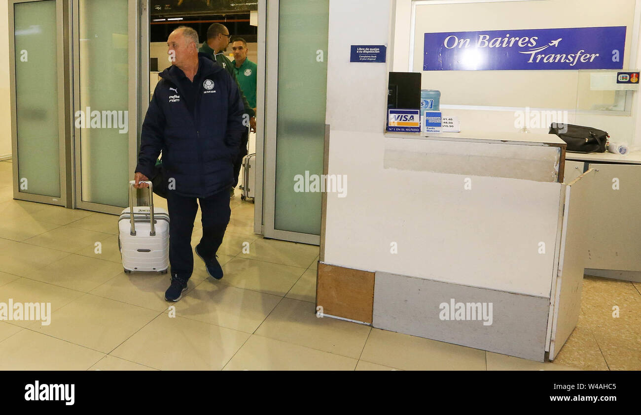 Buenos Aires, Argentina. 21st July, 2019. Coach Felipão, from SE Palmeiras, during disembarkation at Buenos Aires International Airport. Credit: Cesar Greco/FotoArena/Alamy Live News - Stock Image