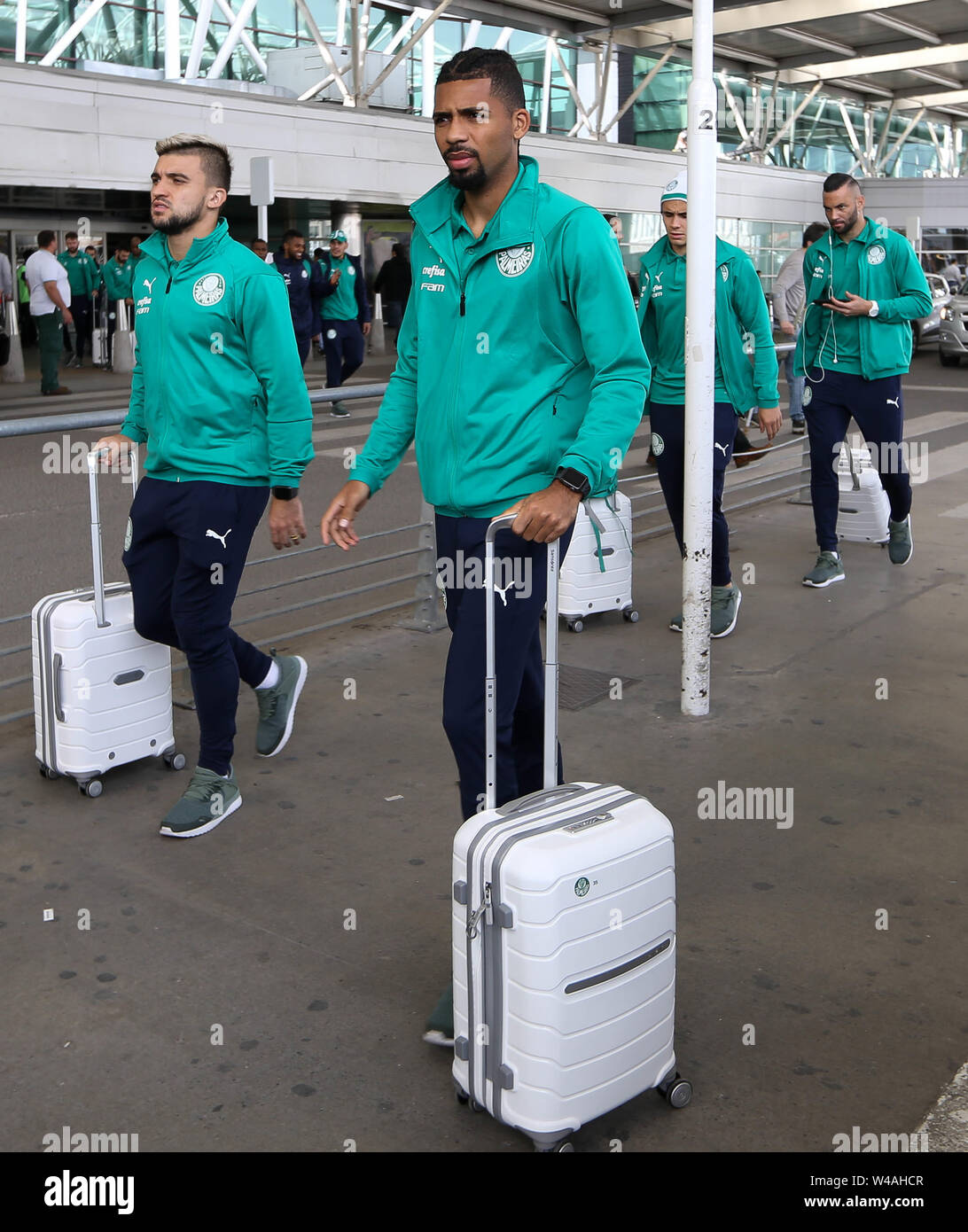 Buenos Aires, Argentina. 21st July, 2019. Matheus Fernandes, from SE Palmeiras, during landing, at Buenos Aires International Airport. Credit: Cesar Greco/FotoArena/Alamy Live News - Stock Image