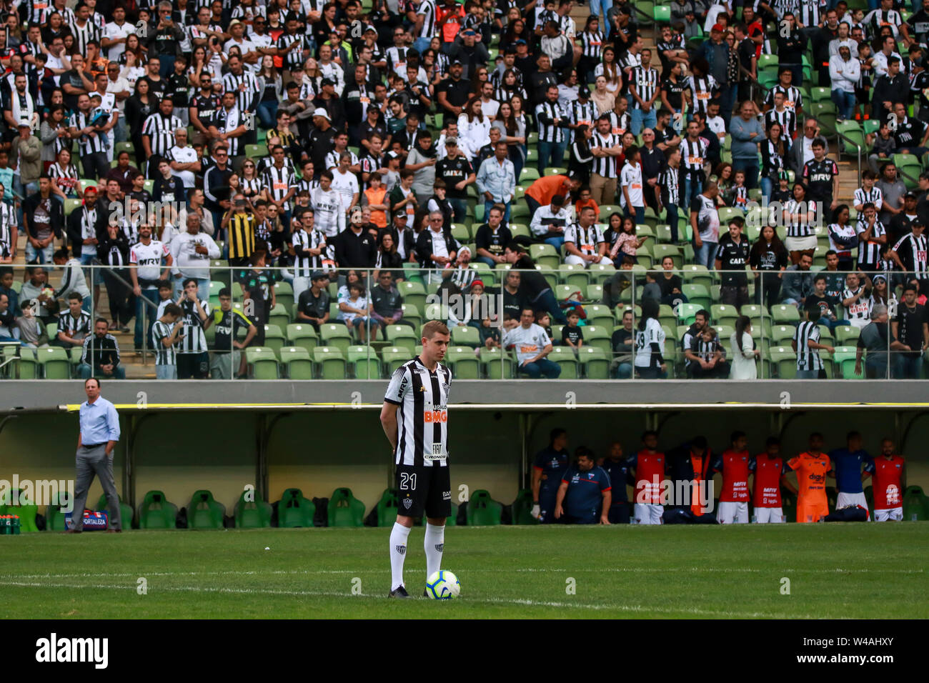 Belo Horizonte, Brazil. 21st July, 2019. MG vs Fortaleza, a match valid for the 2019 Brazilian Championship, held at Arena Independência, Belo Horizonte, MG. Credit: Dudu Macedo/FotoArena/Alamy Live News - Stock Image