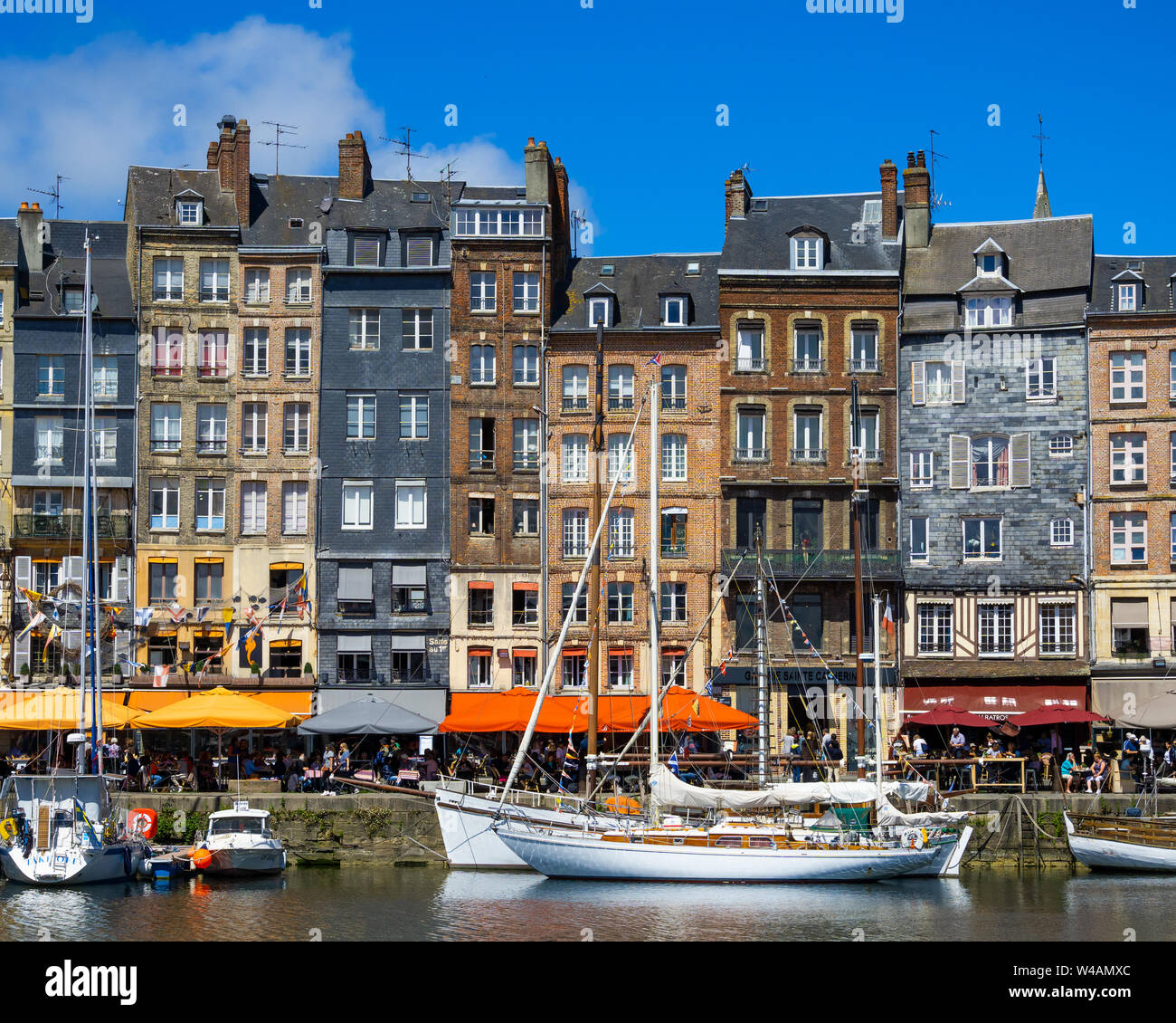 Honfleur Vieux-Bassin (Old Dock) skyline or cityscape on a sunny day of summer, Normandy, France. Stock Photo