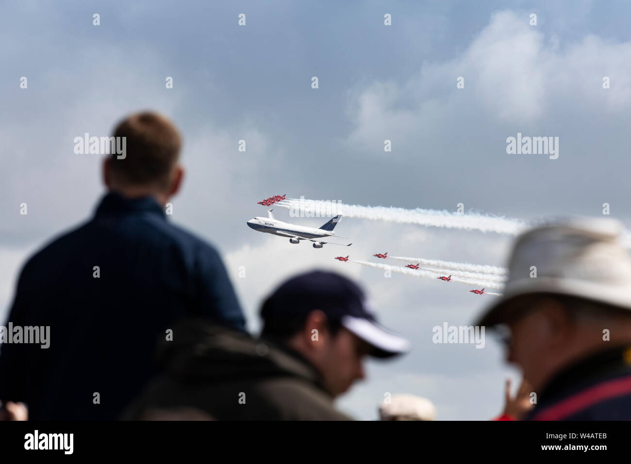 Red Arrows formation flight with British Airways BOAC livery